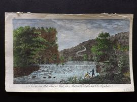 UK 1777 Hand Col Print. A View of the River Wye in Monsal Dale in Derbyshire